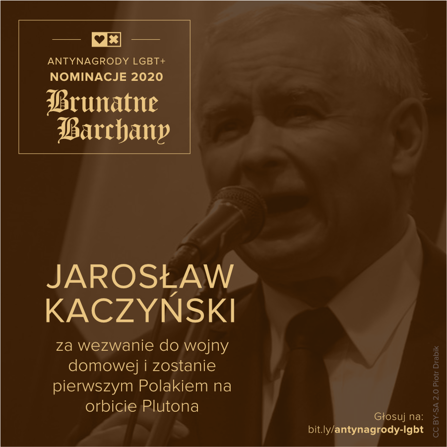 Antynagrody LGBT+ Miłość Nie Wyklucza Jarosław Kaczyński