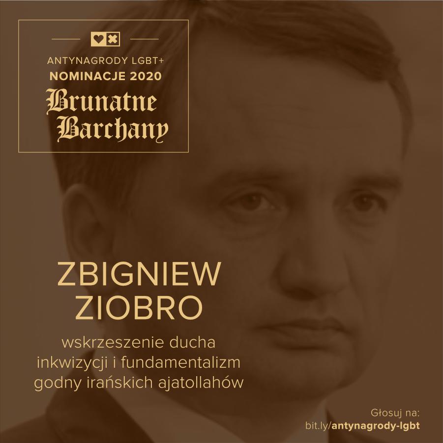 Antynagrody LGBT+ Miłość Nie Wyklucza Zbigniew Ziobro