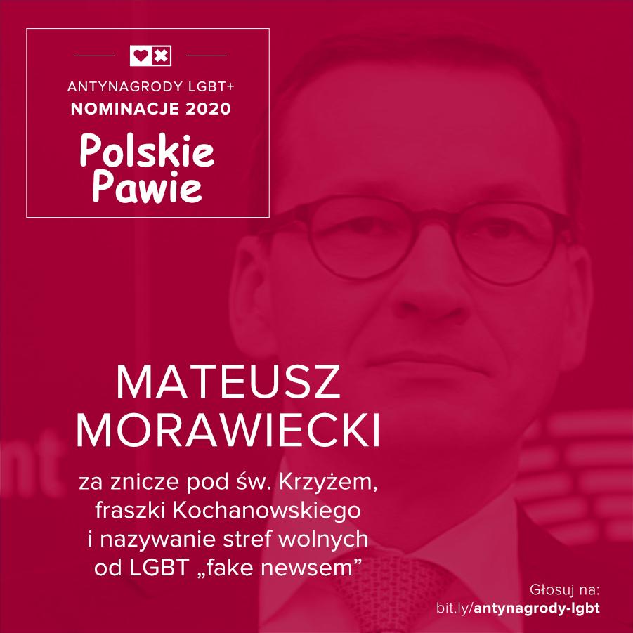 Antynagrody LGBT+ Miłość Nie Wyklucza Mateusz Morawiecki