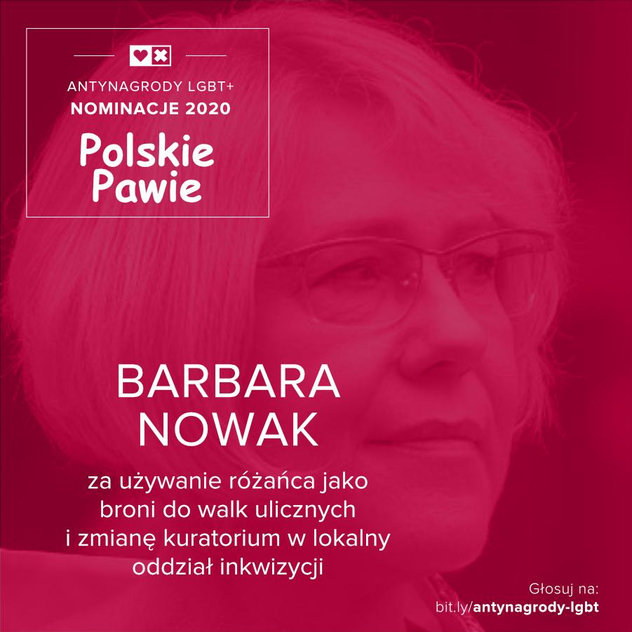 Antynagrody LGBT+ Miłość Nie Wyklucza Barbara Nowak
